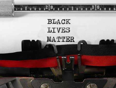 BLACK LIVES MATTER on old typewriter Stock Photo