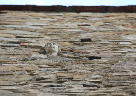 Face of woman called BERTA walled up inside the house in Florence in Italy symbolizing an ancient Florentine legend