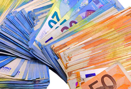 european money in twenty and fifty banknotes on a white background