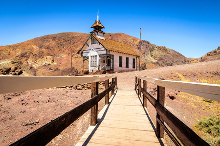view of Calico church from the wood bridge Stock Photo