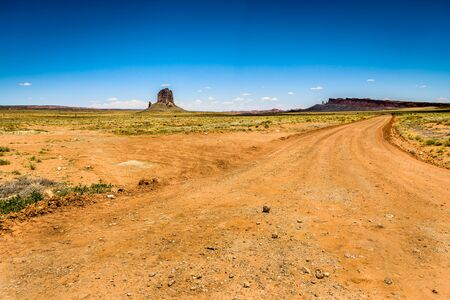 scenic drive: Landscape with a majestic rock before entering the monument valley Stock Photo