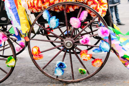 chariot: chariot decorated with colorful bows