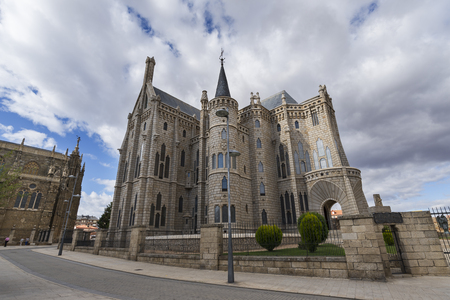 Astorga, Spain  Astorga, 09092017: The Episcopal Palace of Astorga is a building by Spanish architect Antoni GaudÃÂ. It was built between 1889 and 1913. Designed in the Catalan Modernisme style, it is one of only three buildings by Gaudi outside Catal Editorial