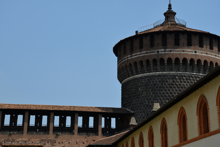 Milan, Italy / Milan, 05/08/2015: Sforza Castle is in Milan, northern Italy. It was built in the 15th century by Francesco Sforza, Duke of Milan, on the remnants of a 14th-century fortification.