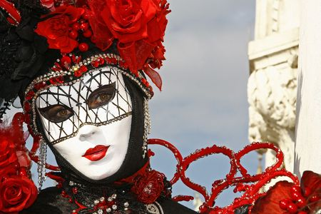 carnevale: During the Carnival, hundreds of people wearing wonderful colourful costumes and masks come to Venice from all over the world. Stock Photo
