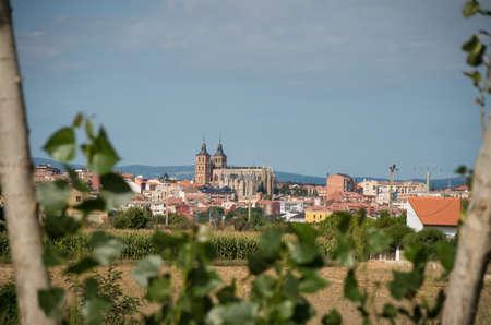 episcopal: Astorga Cathedral and Palacio Episcopal from the Camino Stock Photo