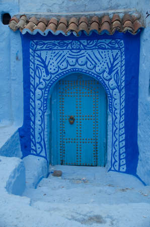 Beautiful blue door in the blue city, Chefchaouen, Morocco