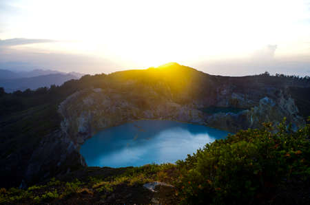 Volcanic Lake in Flores island during sunrise