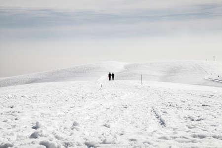 Walking in a snowy landscape 스톡 콘텐츠