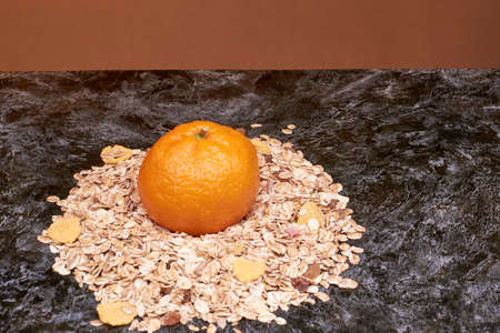 uncrushed cereal is produced by steaming, peeling and grinding Stock Photo