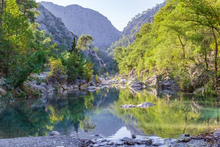 Morning landscape with mountain rocks in Goynuk Canyon in Turkey