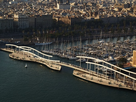 The top view on port of Barcelona. photo