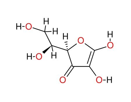 structural: Structural formula of ascorbic acid isolated on white background Stock Photo