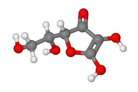 Ball and stick model of ascorbic acid molecule isolated on white background Stock Photo - 8329757