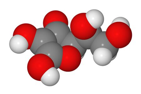 Space-filling model of ascorbic acid molecule isolated on white background photo