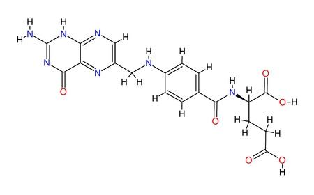 Structural formula of folic acid isolated on white background photo