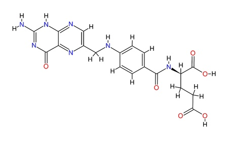 structural: Structural formula of folic acid isolated on white background