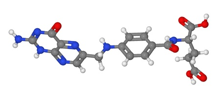 cofactor: Ball and stick model of folic acid molecule isolated on white background