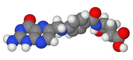 Space-filling model of folic acid molecule isolated on white background photo