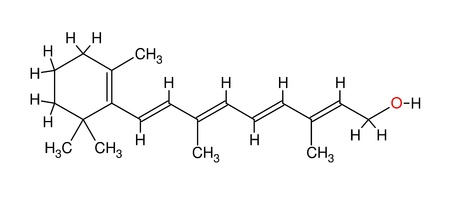 Structural formula of retinol isolated on white background photo