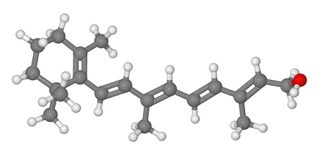 Ball and stick model of retinol molecule isolated on white background photo