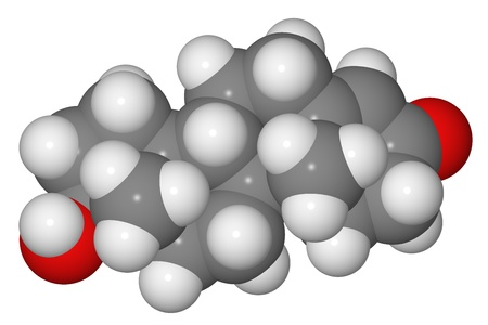 Space-filling model of testosterone molecule isolated on white background