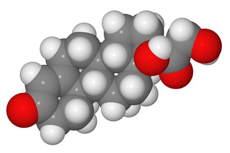 Space-filling model of cortisol molecule isolated on white background Stock Photo