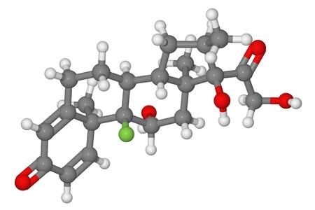 Ball and stick model of dexamethasone molecule isolated on white background Stock Photo