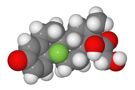 Space-filling model of dexamethasone molecule isolated on white background Stock Photo