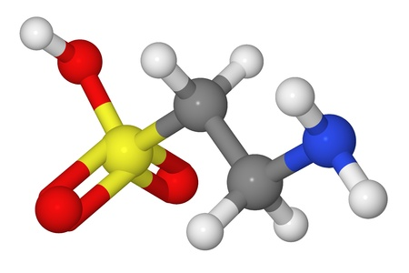 Ball and stick model of taurine molecule isolated on white background Stock Photo