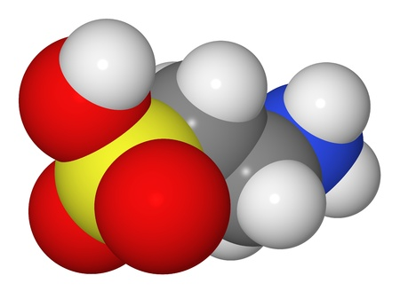 Space-filling model of taurine molecule isolated on white background Stock Photo