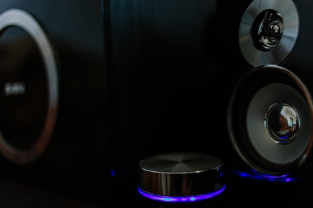 Music speakers with blue neon