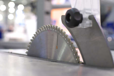 hardened: Woodworking machine saw blade Stock Photo