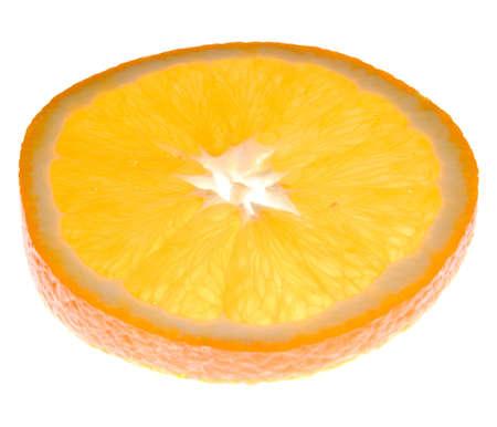 back lit: Piece of juicy orange, back lit, isolated