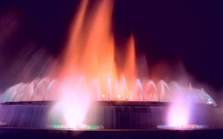 Magic singing fountains on Montjuic mountain, Barcelona, Spain. This fountain is never the same and looks just wonderful. photo