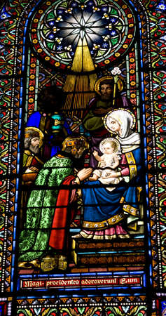 Fragment of stained glass in Montserrat monastery, Catalonia, Spain