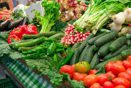 Famous Boceria market in Barcelona, Spain, vegetables