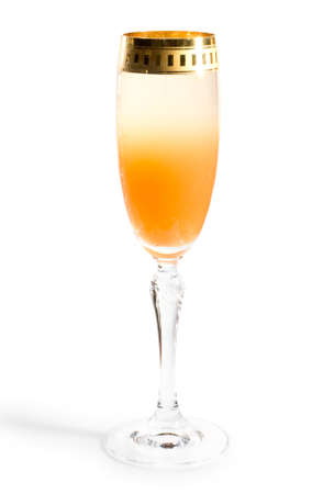 rainbow cocktail: Cocktail insolito gradiente con succo di frutta e champagne, clipping path