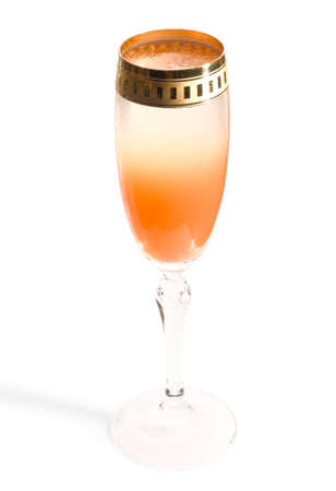 rainbow cocktail: Unusual gradient cocktail with juice and champagne, path, limited focus