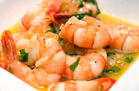 Prawns fried with olive oil and butter