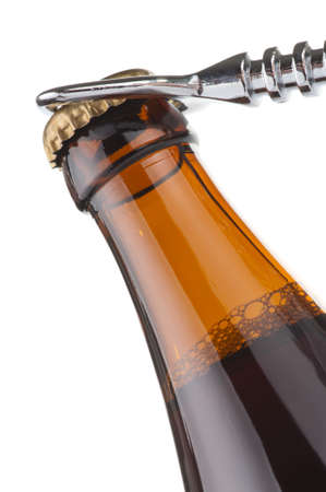 ported: Opening dark beer bottle with metal opener