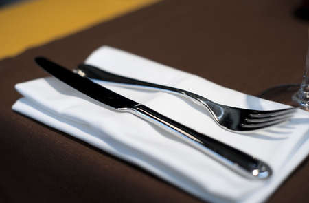 Expensive table set in restaurant, shallow dof, high contrast photo