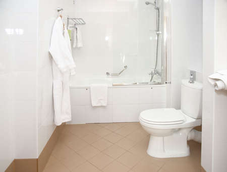 Bathroom in hotel, clean and simple photo