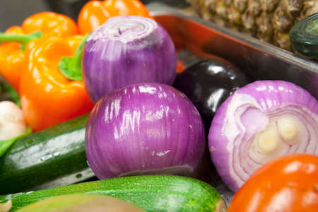 Variety of vegetables - onions, bel peppers and courgettes , shallow focus Stock Photo - 5113628