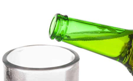 bottleneck: Vibrant beer pouring in monochrome glass - lifes getting better
