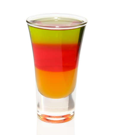 Nice three-layered cocktail isolated on white with clipping path  photo