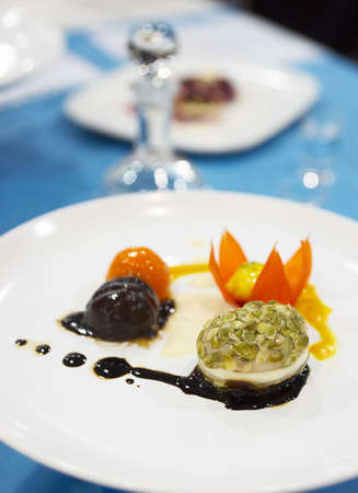 expensive food: Tasty appetizer on restaurant table, shallow focus