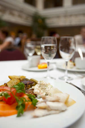 expensive: Busy restaurant, wide angle shot Stock Photo