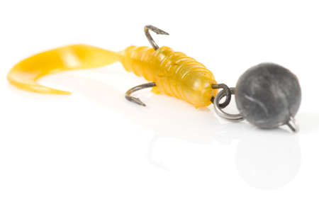 jig: Soft plastic jig lure isolated with shadow and reflection