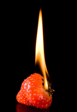 allergic ingredients: Burning strawberry with flames